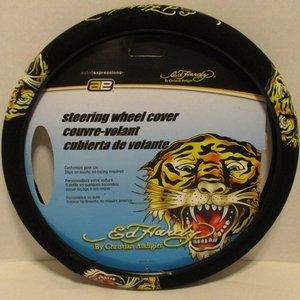 Ed Hardy Black Yellow NWOT Steering Wheel Cover